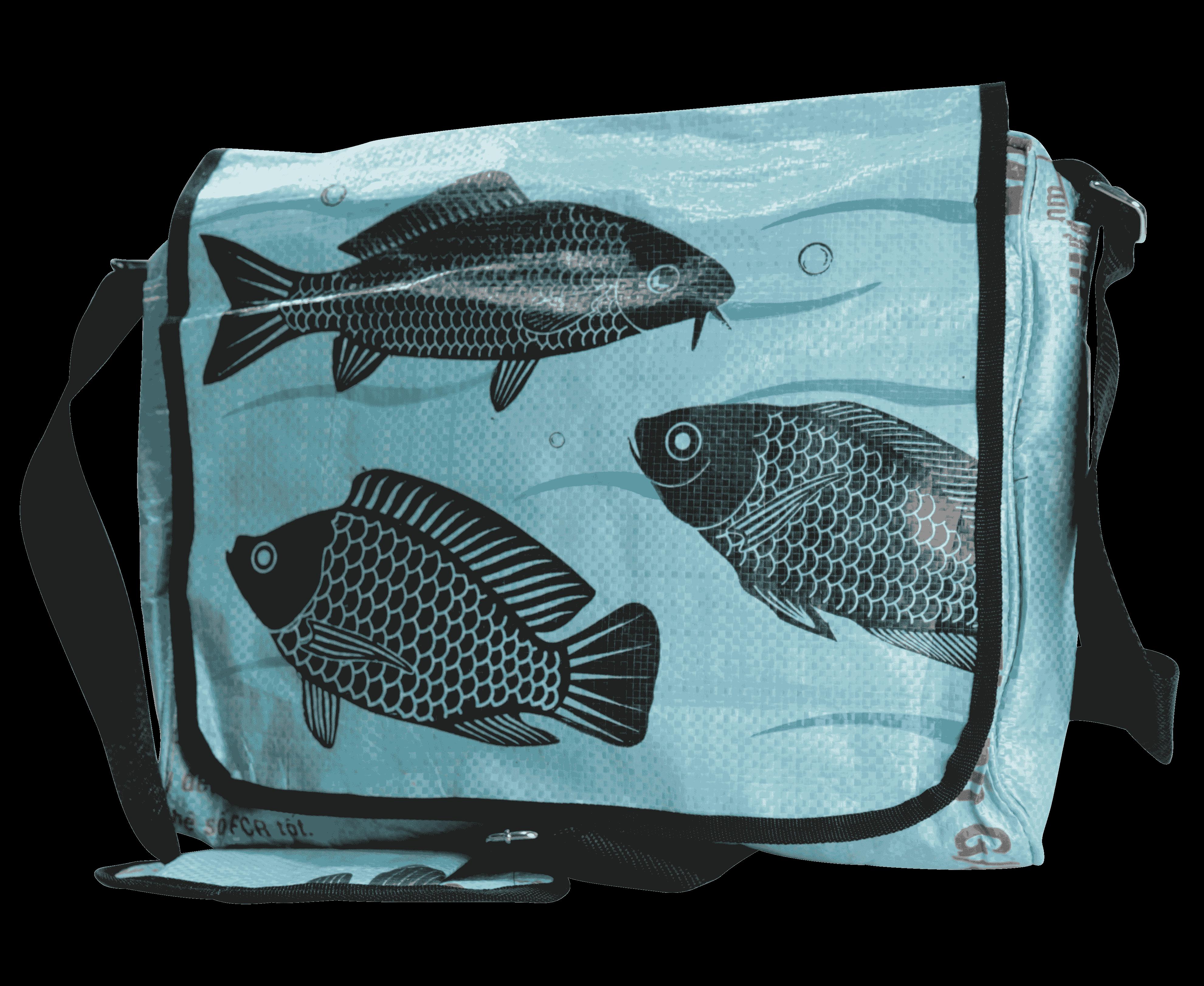 Laptoptas blauw vis