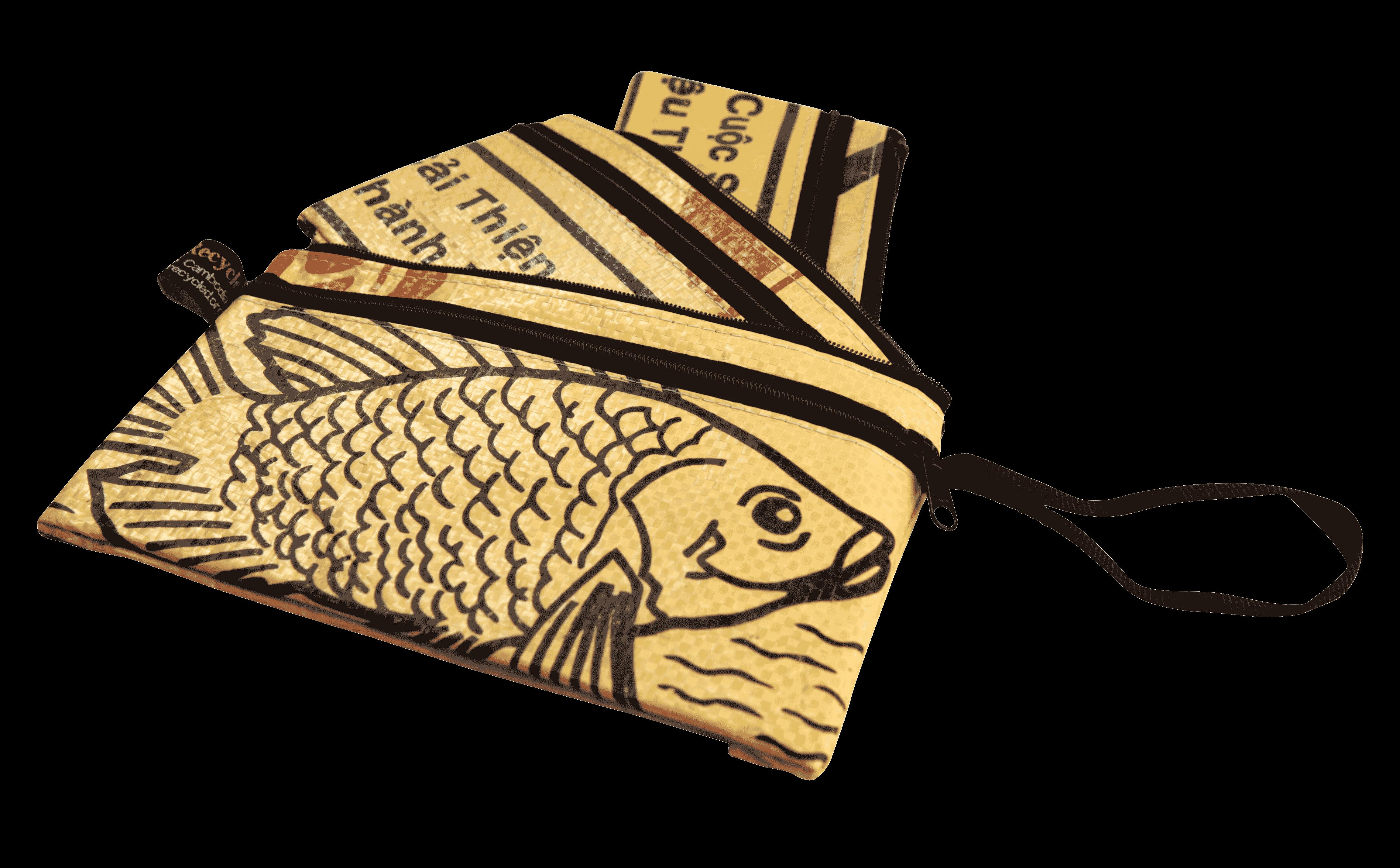 Set van 3 etuis - klein - gele vis
