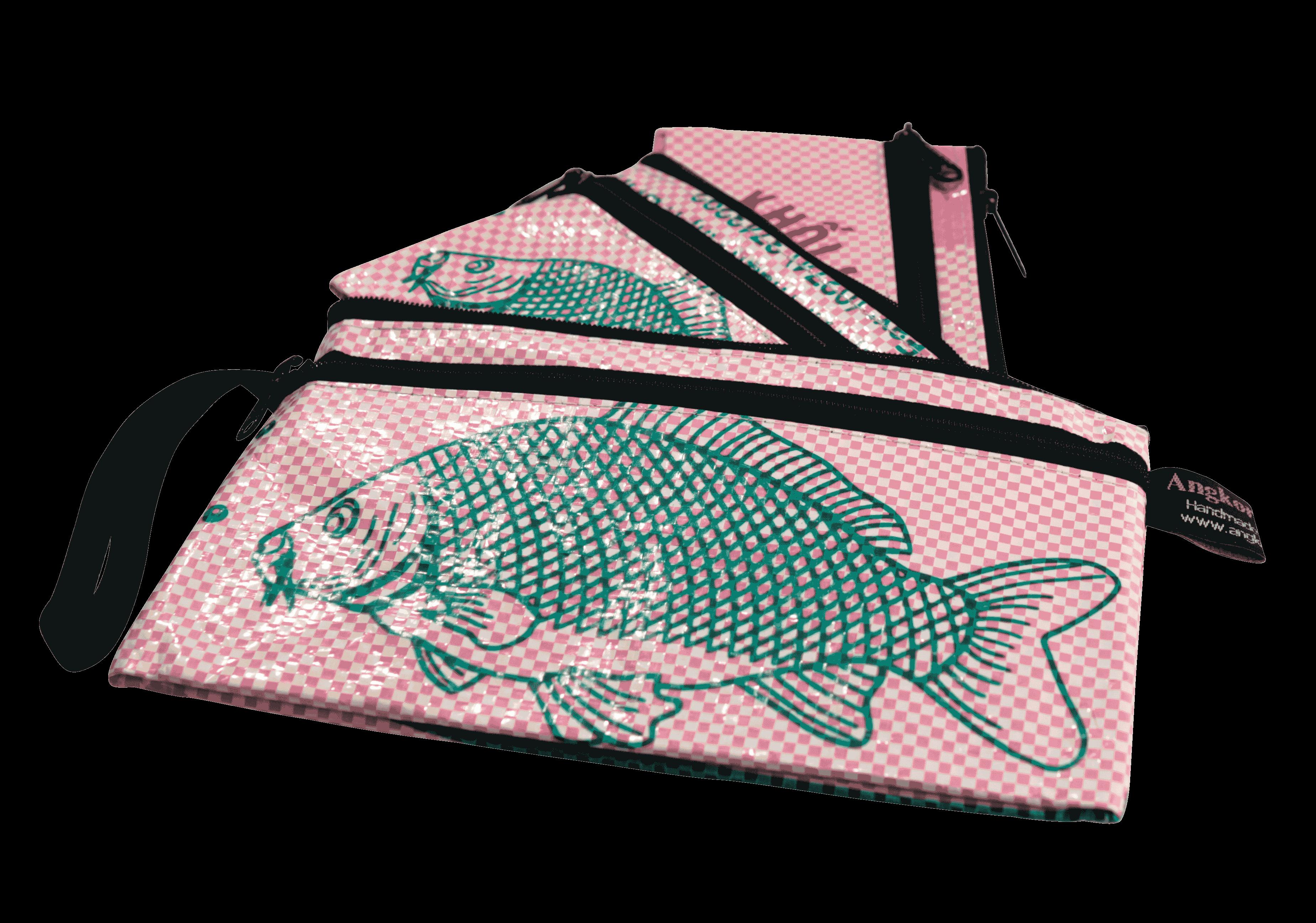 Set van 3 etuis - klein - roze vis