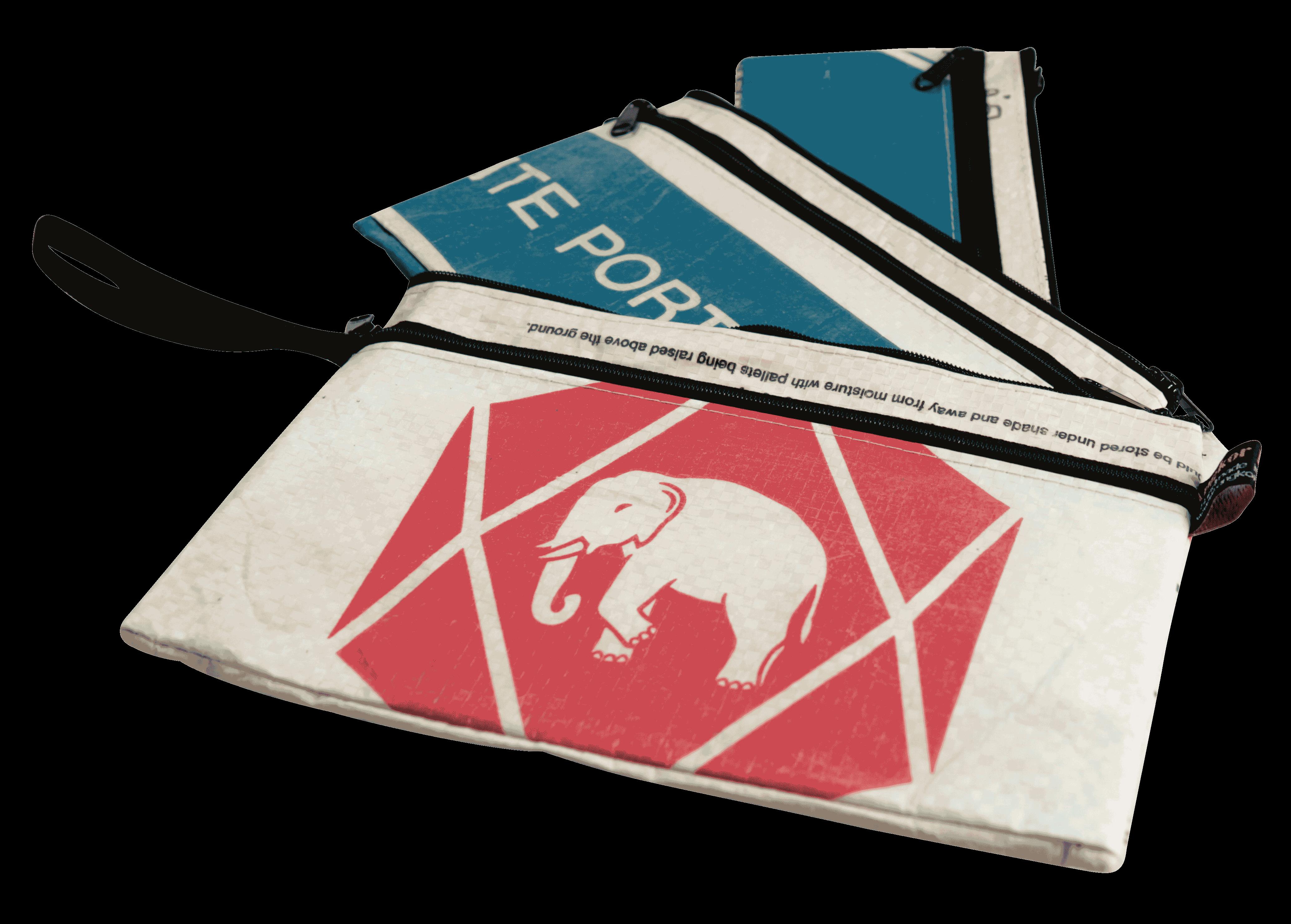 Set van 3 etuis - groot - rode olifant