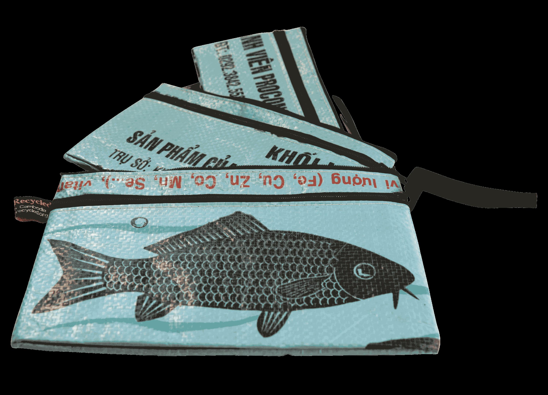 Set van 3 etuis - groot - blauwe vis