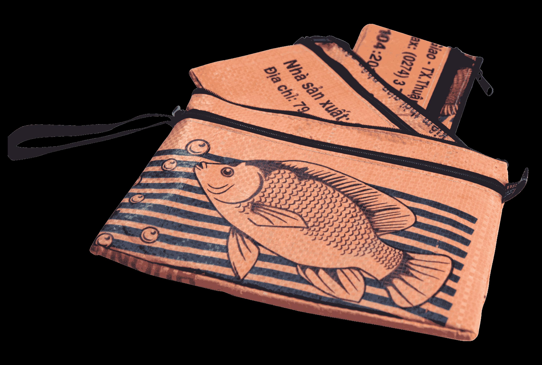 Set van 3 etuis - groot - oranje vis