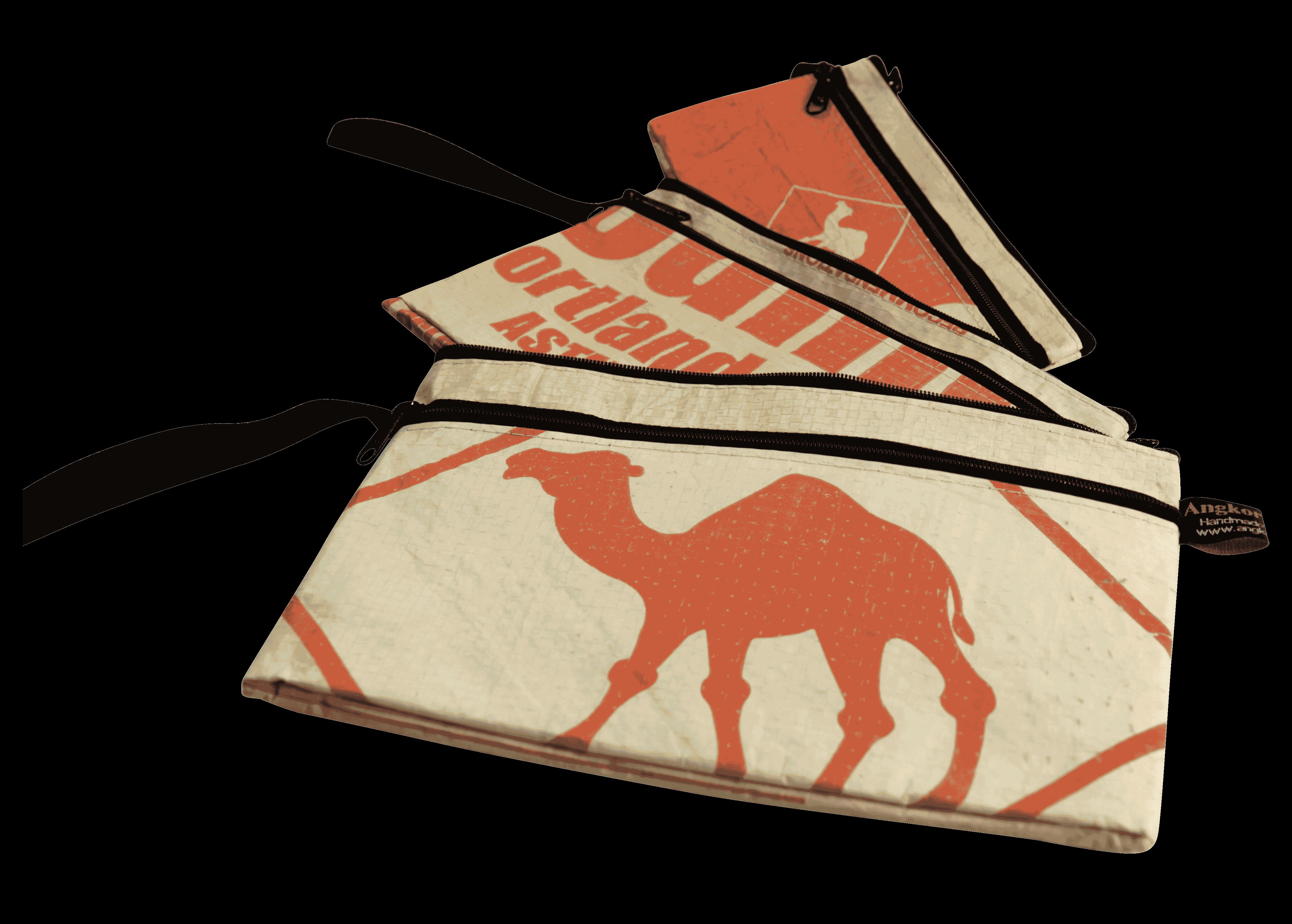 Set van 3 etuis - groot - rode kameel