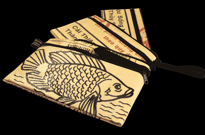 Set van 3 etuis - groot  - gele vis