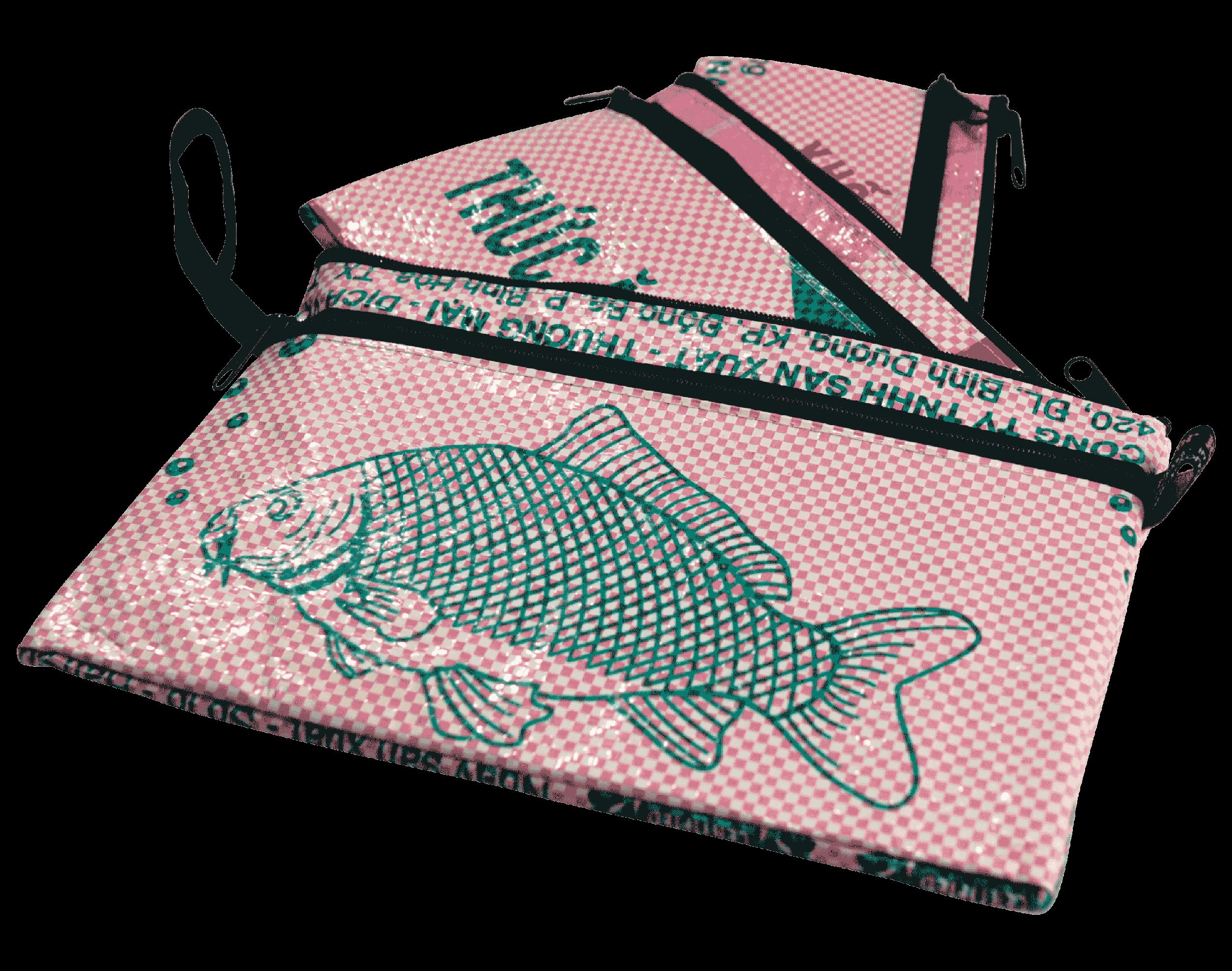 Set van 3 etuis - groot - roze vis